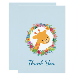 Cute Giraffe with a Floral Wreath Party Thank You Card