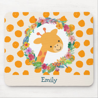 Cute Giraffe with a Floral Wreath Personalized Mouse Pad