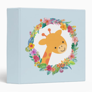 Cute Giraffe with a Watercolor Floral Wreath Binder