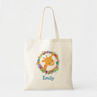 Cute Giraffe with a Watercolor Floral Wreath Tote Bag