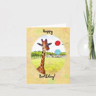 Cute Giraffe with Birthday Balloons Card