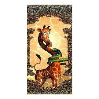 Cute giraffe with dragon, so funny card