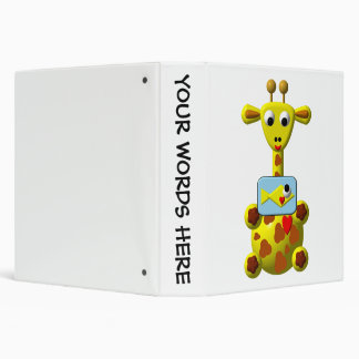 Cute Giraffe with Goldfish 3 Ring Binder