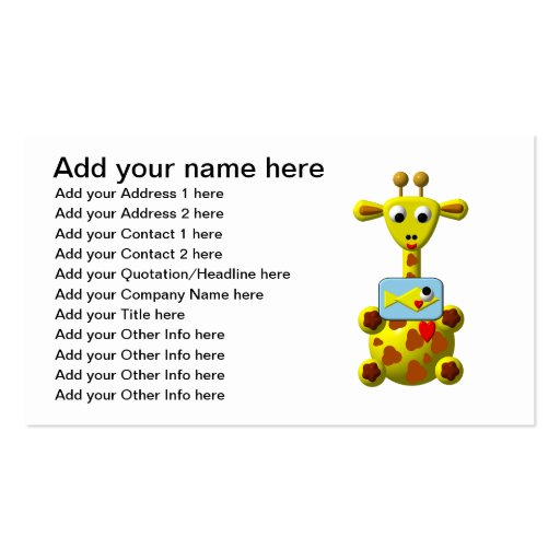 Cute Giraffe with Goldfish Business Cards