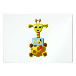 Cute Giraffe with Goldfish Custom Invitation