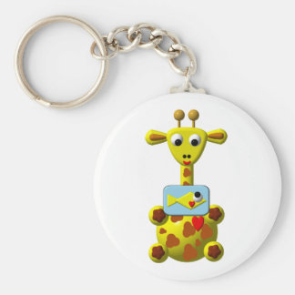 Cute Giraffe with Goldfish Keychain