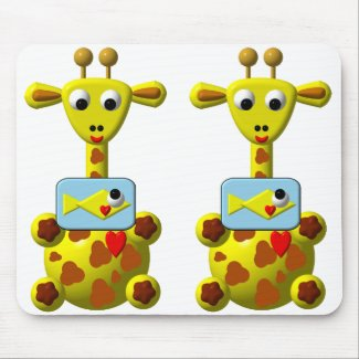 Cute Giraffe with Goldfish mousepad
