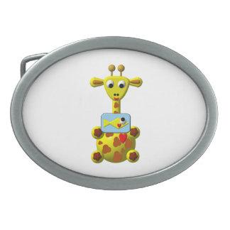 Cute Giraffe with Goldfish Oval Belt Buckle