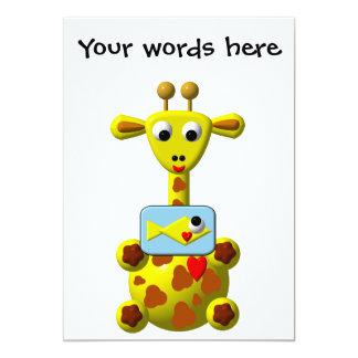 Cute Giraffe with Goldfish Personalized Invites