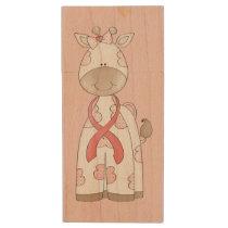 Cute Giraffe Wood USB Flash Drive