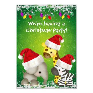 Cute Giraffe, Zebra & Elephant Christmas Party Card