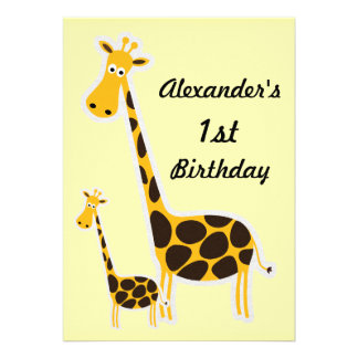 Cute Giraffes Baby 1st Birthday Party Personalized Invitation