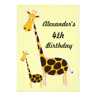 Cute Giraffes Childs 4th Birthday Party Cards