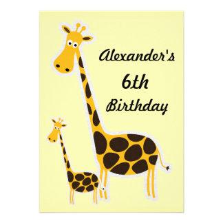 Cute Giraffes Childs 6th Birthday Party Invite