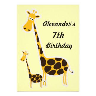 Cute Giraffes Childs 7th Birthday Party Custom Announcement