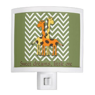 Cute Giraffes on Green Chevron Nursery Nightlight Nite Lite