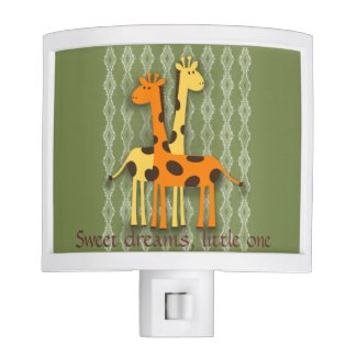 Cute Giraffes on Green Lacy Nursery Nightlight Night Light