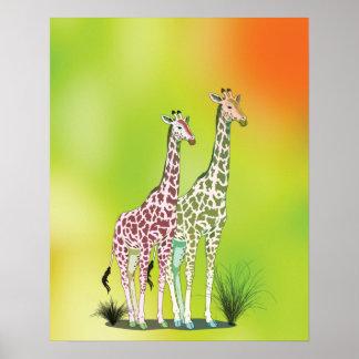 Cute Giraffes Poster
