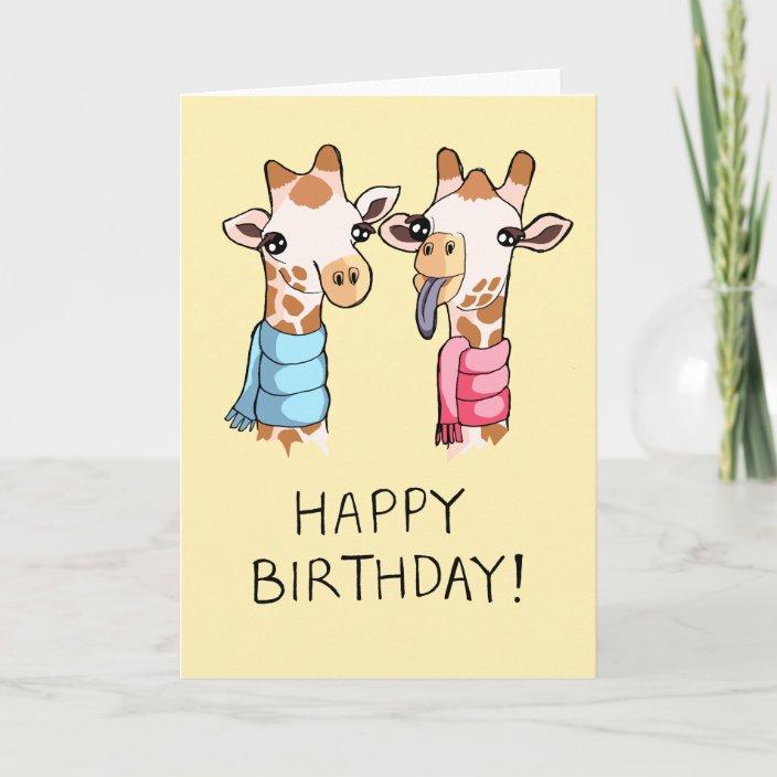 Sensational Cute Giraffes Scarves Drawing Happy Birthday Card Zazzle Com Personalised Birthday Cards Bromeletsinfo
