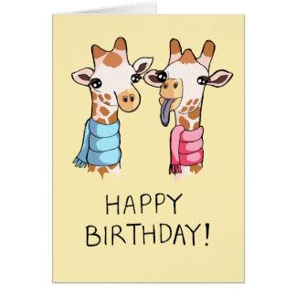 Cute Giraffes Scarves Drawing Happy Birthday Card