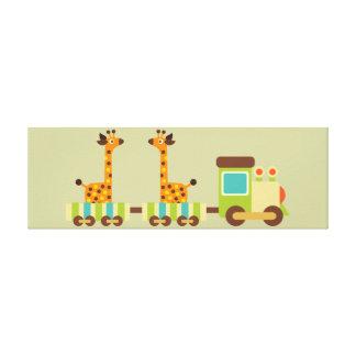Cute Giraffes Train Canvas Kids Wall Decor Baby