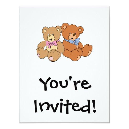 Cute Girl and Boy Bear Card