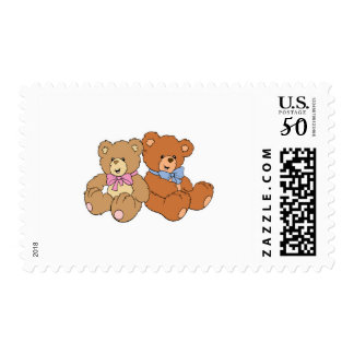 Cute Girl and Boy Bear Postage