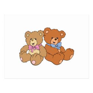 Cute Girl and Boy Bear Postcard