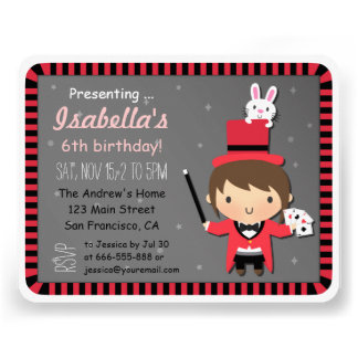 Cute Girl and Bunny Kids Magic Party Invitations