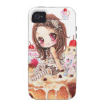 Cute girl and bunny sitting on kawaii cakes iPhone 4/4S cover
