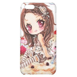 Cute girl and bunny sitting on kawaii cakes case for iPhone 5C