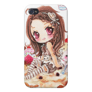 Cute girl and bunny sitting on kawaii cakes iPhone 4 cover