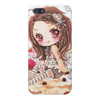 Cute girl and bunny sitting on kawaii cakes cover for iPhone 5