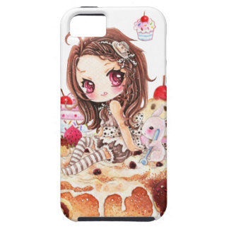 Cute girl and bunny sitting on kawaii cakes iPhone SE/5/5s case