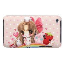 Cute girl and kawaii animals sitting on rainbow barely there iPod cover