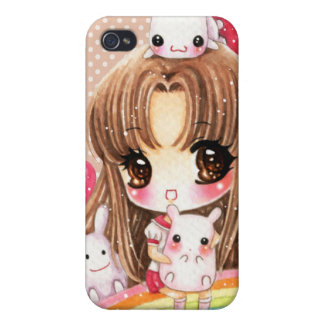 Cute girl and kawaii animals sitting on rainbow cover for iPhone 4