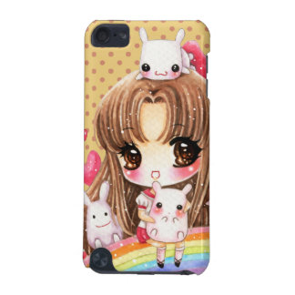 Cute girl and kawaii bunnies sitting on rainbow iPod touch (5th generation) case