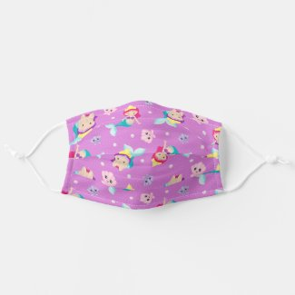 Cute Girl Baby Mermaids Under The Sea Cloth Face Mask