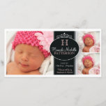 """Cute Girl Baby Photo Monogram  Birth Announcement<br><div class=""""desc"""">Three photos of your beautiful baby girl are featured on this pretty photocard of black, white and pink by katkadoodle. A decorative band accented with swirls and curls hold your little girl&#39;s initial and name. All the important details follows - to create a sweet birth announcement they&#39;re sure to remember...</div>"""