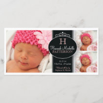 Cute Girl Baby Photo Monogram  Birth Announcement
