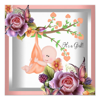 Cute Girl Baby Shower Girl Coral Peach 2 Card
