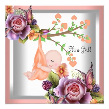 Toddler & Baby themed Cute Girl Baby Shower Girl Coral Peach 2 Card