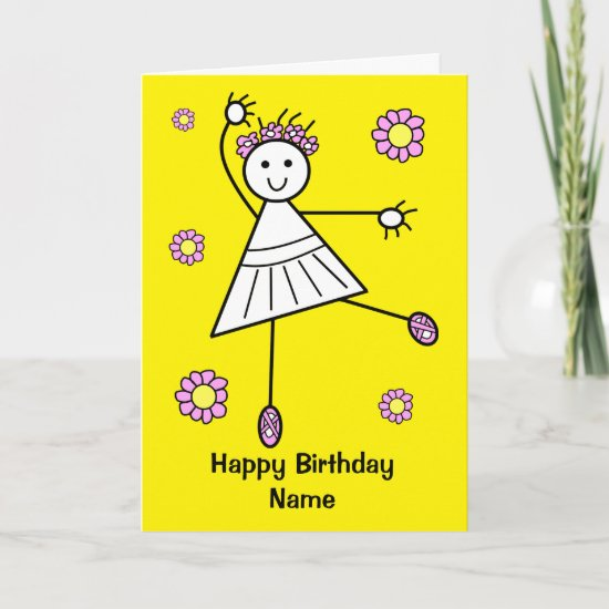 Cute Girl Ballet Dancer Birthday Card