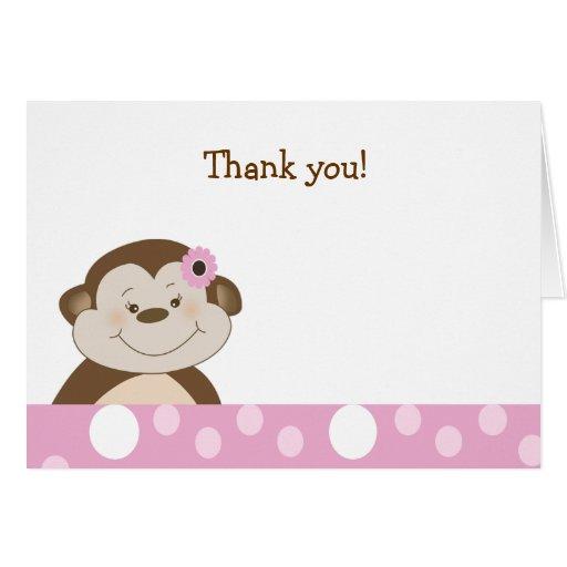 Cute Girl Bambino Monkey Pink Dot Thank you notes