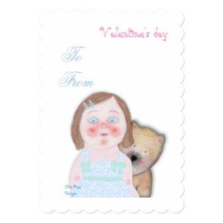 Cute girl & bear Valentine's Love invitation. Card