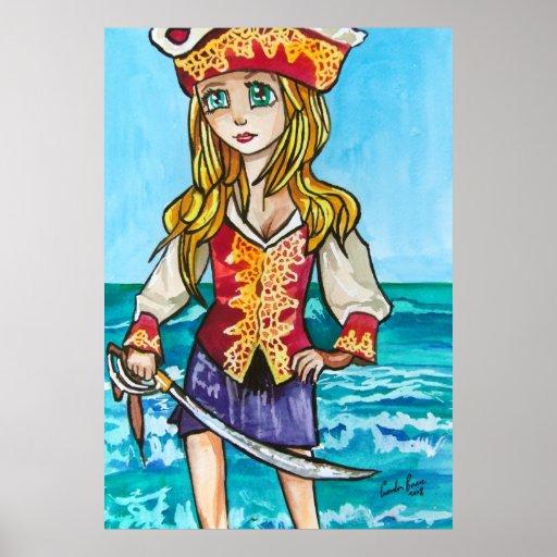 Cute Girl big eye pirate painting Poster
