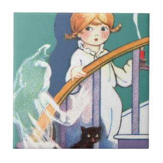 Cute Girl Black Cat Ghost Ghoul Ceramic Tile