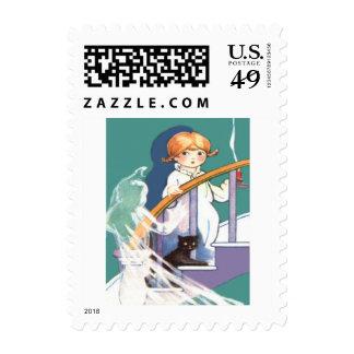 Cute Girl Black Cat Ghost Ghoul Postage Stamp