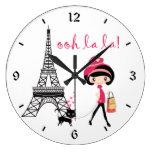 Cute Girl, Black Cat with Eiffel Tower Paris Large Clock