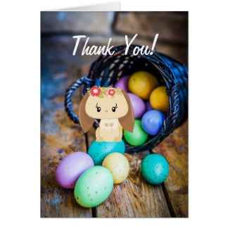 Cute Girl Bunny and Eggs Spring Easter Thank You Card